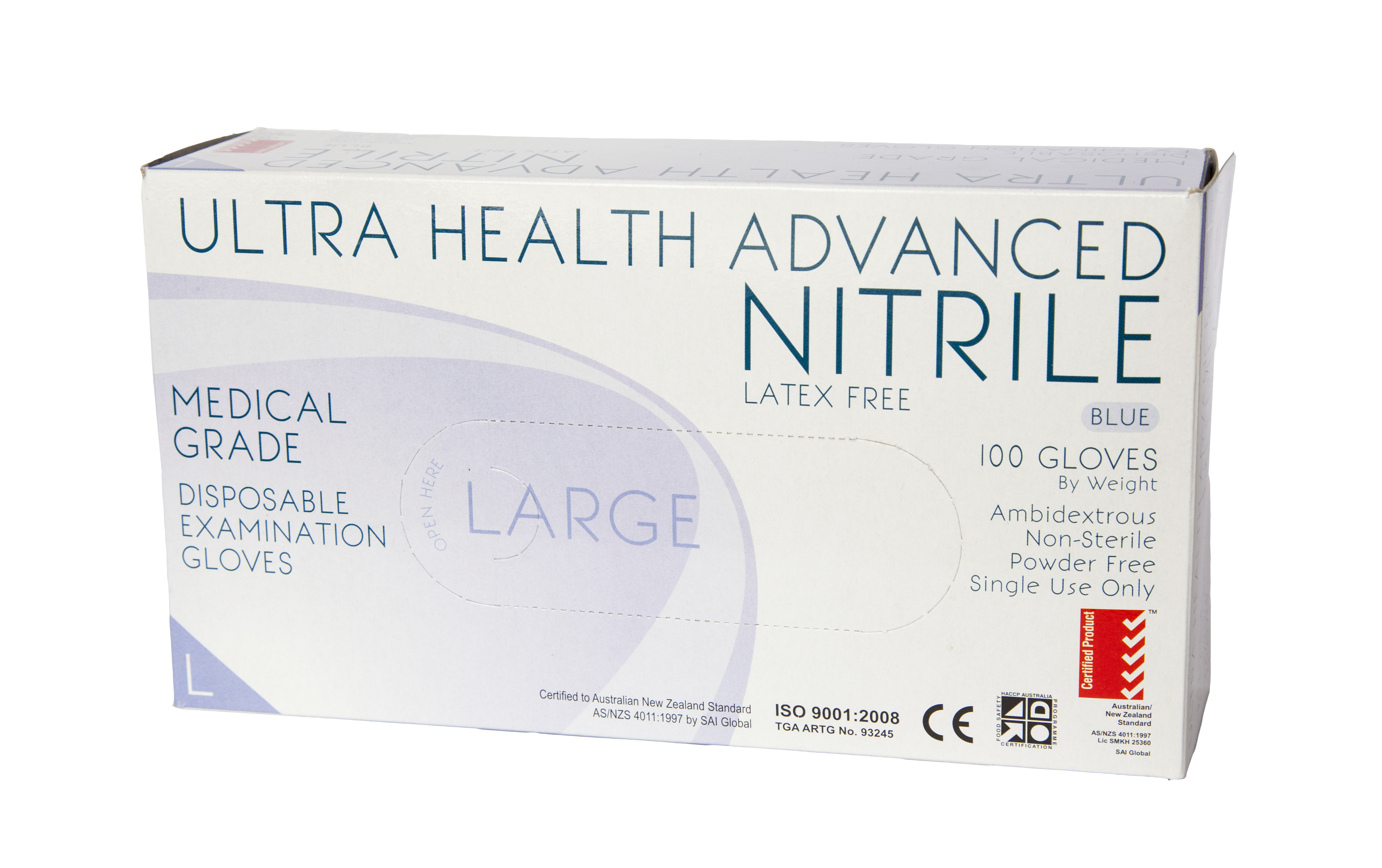 GLOVES ULTRA HEALTH ADVANCED NITRILE LARGE POWDERFREE NON STERILE