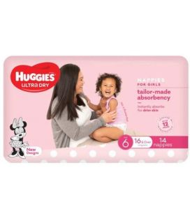 Huggies Nappies Ultra Dry Junior Size 6 Girl 16kg+