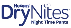 Blue and white DryNites logo