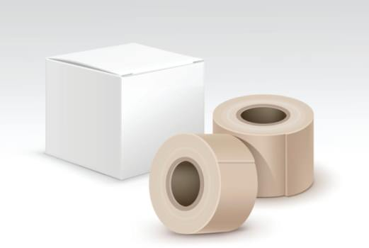 Tape rolls and box