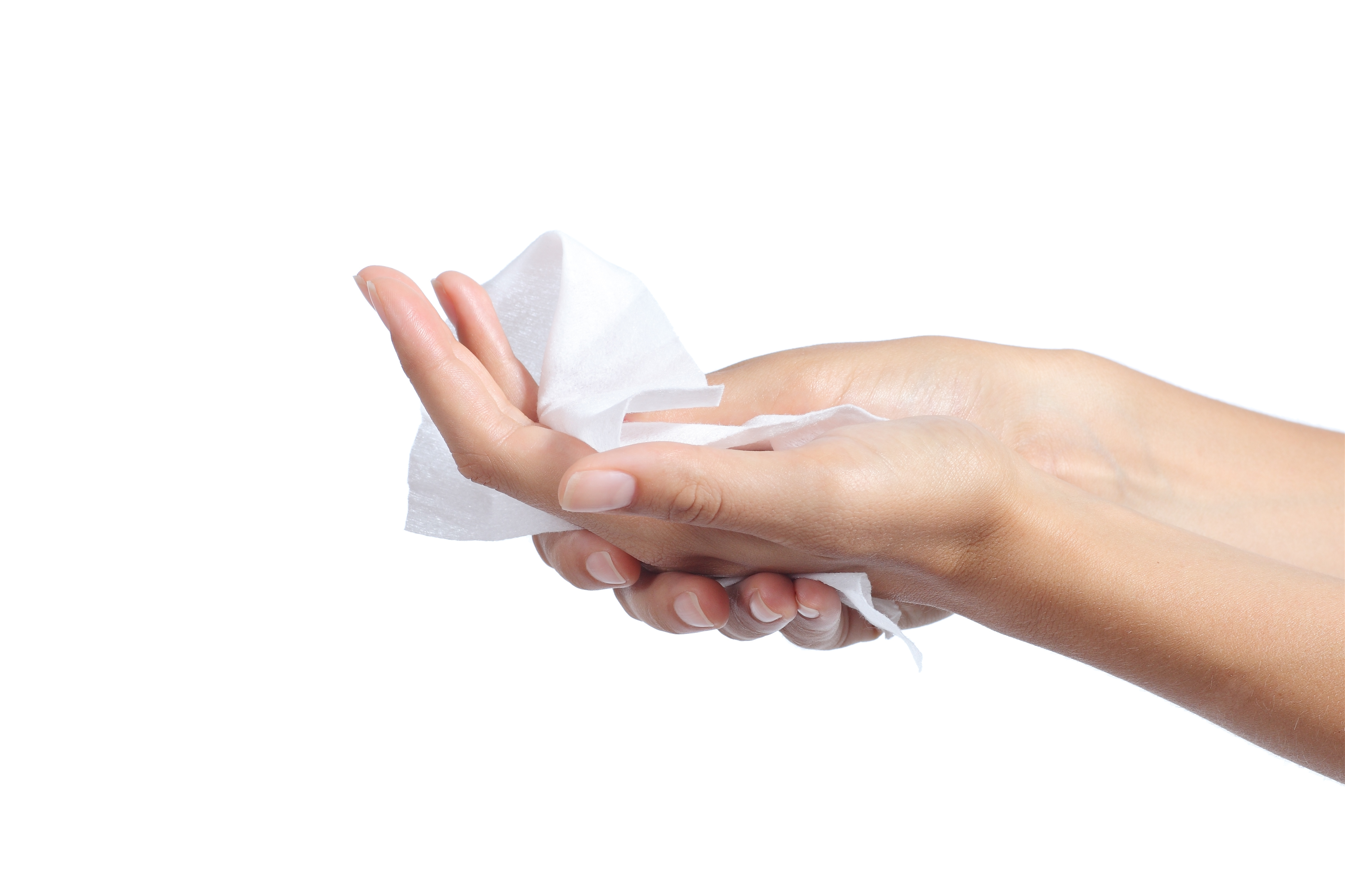 Person cleaning hands with wet wipe