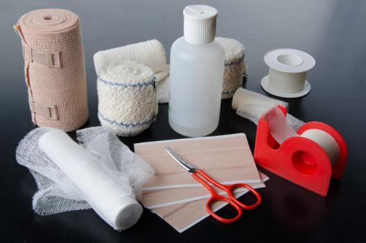 Pile of wound dressings and tapes